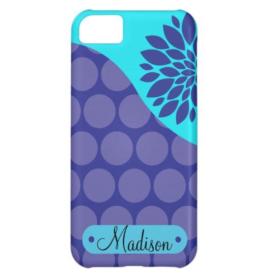 Custom Personalised Name Teal Purple Polka Dots iPhone 5C Case