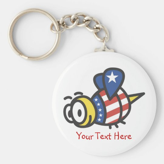 Custom Personalised Patriotic Bumble Bee Keychains
