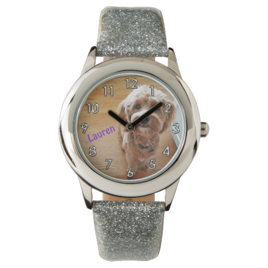 Custom Personalised Photo Glitter Watch for Girls