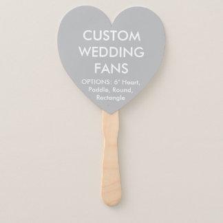 Custom Personalised SILVER GREY HEART WEDDING FANS