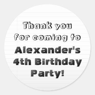 Custom Personalised Thank You Birthday Party Round Sticker