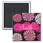 Custom Personalised with Name Pink Purple Flowers Square Magnet