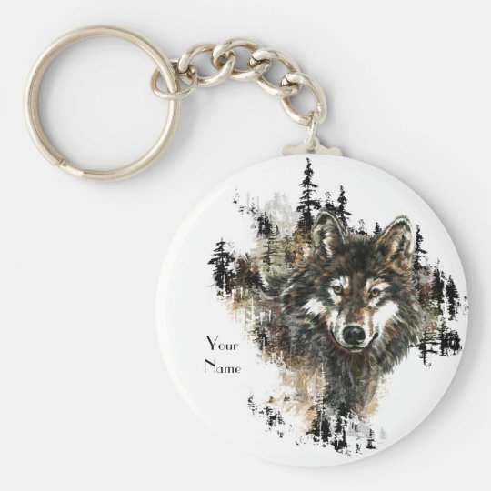 Custom, Personalised Wolf Mountain Animal art Key Ring