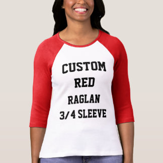 Custom Personalised Womens RED 3/4 SLEEVE RAGLAN T-Shirt