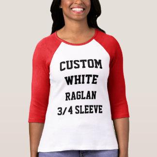 Custom Personalised Womens WHITE 3/4 SLEEVE RAGLAN T-Shirt