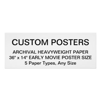"""Custom Personalized 36""""x14"""" Archival Paper Poster"""