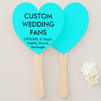Custom Personalized AQUA BLUE HEART WEDDING FANS