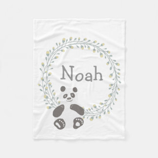 Custom Personalized Baby Blanket Panda Bear