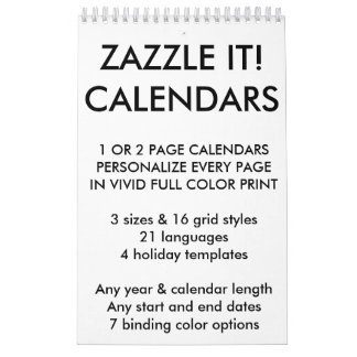 Custom Personalized Calendar Blank Template