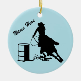 Custom Personalized Cowgirl Barrel Racer Christmas Ornament