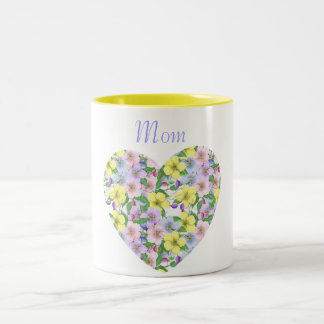 Custom Personalized Floral Heart Mugs