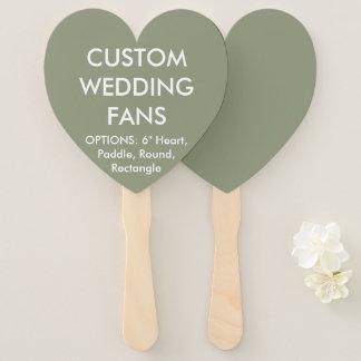 Custom Personalized GREEN HEART WEDDING FANS