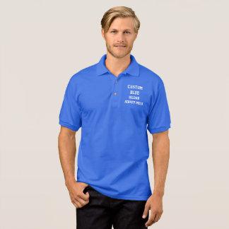 Custom Personalized Men's BLUE JERSEY POLO SHIRT