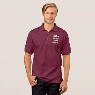 Custom Personalized Men's BROWN JERSEY POLO SHIRT