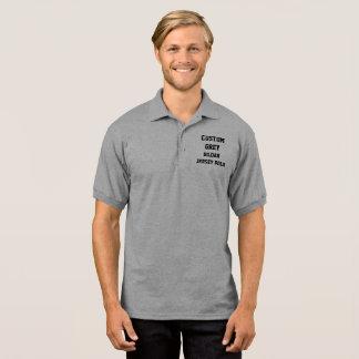 Custom Personalized Men's GREY JERSEY POLO SHIRT
