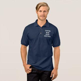 Custom Personalized Men's NAVY JERSEY POLO SHIRT