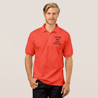 Custom Personalized Men's RED JERSEY POLO SHIRT