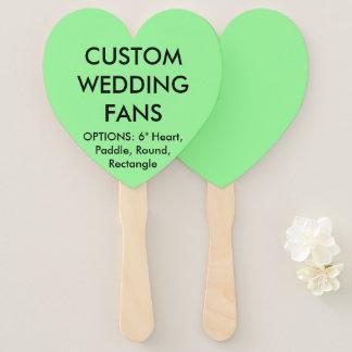Custom Personalized MINT GREEN HEART WEDDING FANS