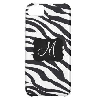 Custom Personalized Monogram Initial Zebra Stripes iPhone 5C Covers