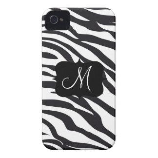 Custom Personalized Monogram Initial Zebra Stripes iPhone 4 Covers