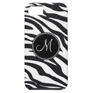 Custom Personalized Monogram Initial Zebra Stripes iPhone 5 Cases