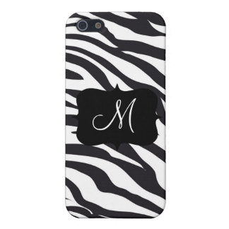 Custom Personalized Monogram Initial Zebra Stripes Covers For iPhone 5