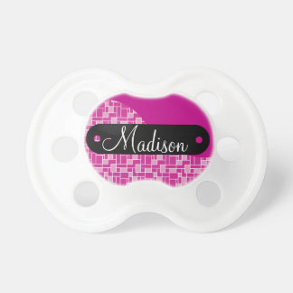 Custom Personalized Name Magenta Purple Tile Baby Pacifier