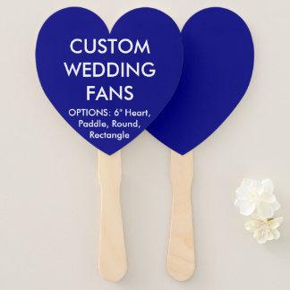 Custom Personalized NAVY HEART WEDDING FANS