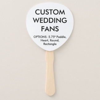 Custom Personalized PADDLE WEDDING FANS Template