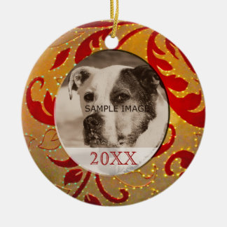 Custom Personalized Pet Photo Red Gold Christmas Christmas Ornament