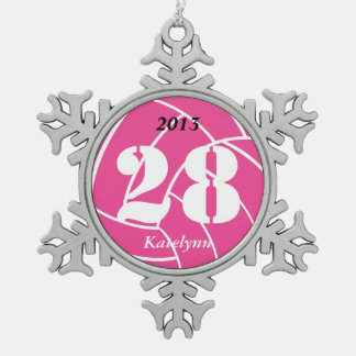 Custom Personalized Pink Volleyball Ornament
