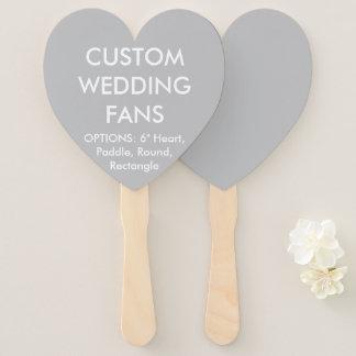 Custom Personalized SILVER GREY HEART WEDDING FANS