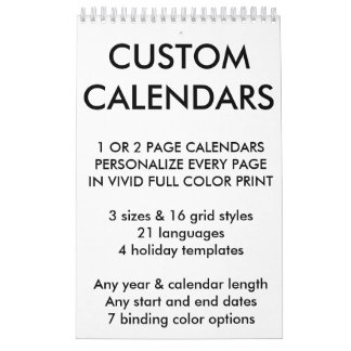 "Custom Personalized Single Page 11"" x 7"" Calendar"