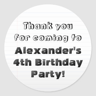 Custom Personalized Thank You Birthday Party Round Sticker