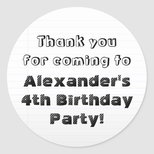 Custom Personalized Thank You Birthday Party Stickers