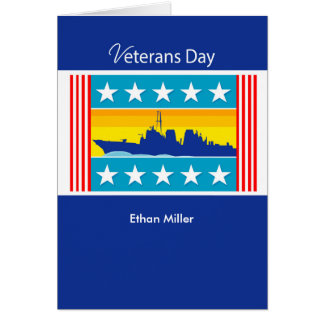 Custom Personalized Veterans Day Navy Ship,Patriot Greeting Card