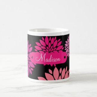 Custom Personalized with Name Pink Purple Flowers Coffee Mug