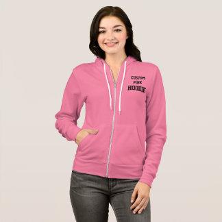 Custom Personalized Women's PINK FULL ZIP HOODIE