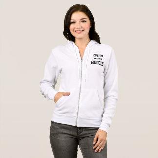 Custom Personalized Women's WHITE FULL ZIP HOODIE