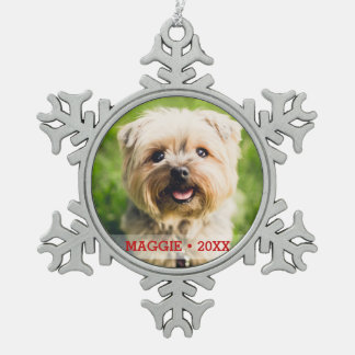 Custom Pet Dog Photo Beautiful Christmas Tree Snowflake Pewter Christmas Ornament