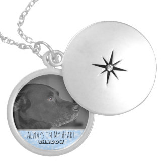 Custom Pet Memorial Photo Keepsake Locket | Blue