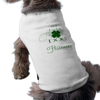 Custom Pet Name:  I'm a Lucky Dog Shamrock Swirls Sleeveless Dog Shirt