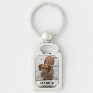 Custom Pet Photo Key Chain Silver-Colored Rectangle Key Ring
