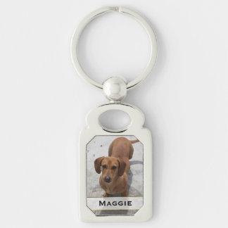Custom Pet Photo Key Chain Silver-Colored Rectangle Key Ring