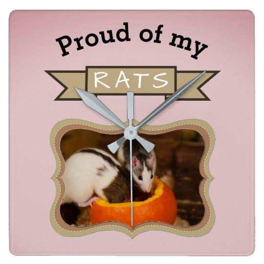 Custom Pet Rat Photo Square Wall Clock