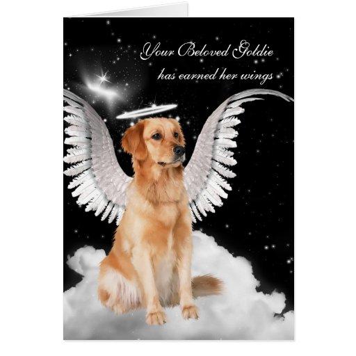 Custom Pet Sympathy Loss of a Dog Retriever Angel Greeting Cards