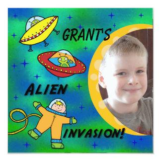 Custom Photo Alien Invasion Birthday Invitation