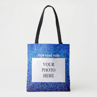 Custom Photo and Name | Blue and Gold Tote Bag