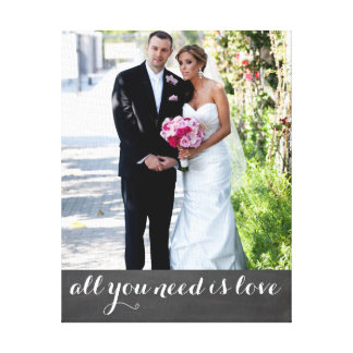 Custom photo and text married couple | newly weds gallery wrap canvas