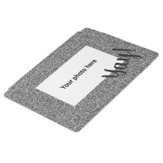 Custom photo and  text on silver grey faux glitter iPad cover